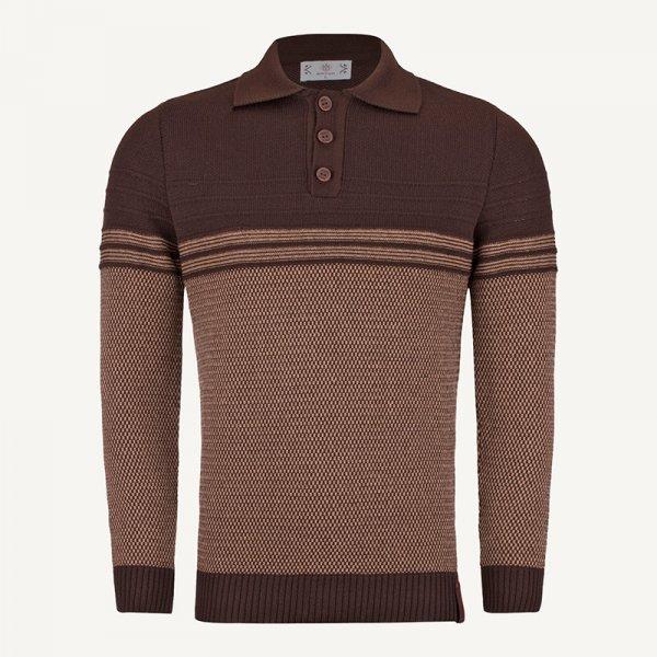لباس زمستانی بلوز مردانه بافت ارزان 2203 قهوه ای