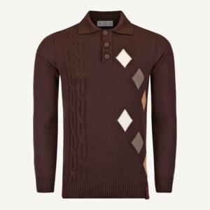 لباس زمستانی بلوز مردانه بافت حراج 2194 قهوه ای