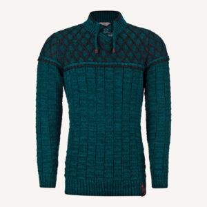 لباس زمستانی پلیور بافت مردانه یقه هفت سبز 2178