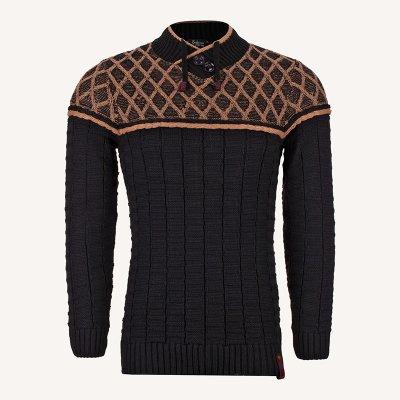 لباس زمستانی پلیور بافت مردانه یقه هفت مشکی 2178