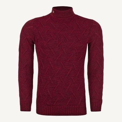 لباس زمستانی پلیور مردانه بافت ارزان شیک 2195 زرشکی