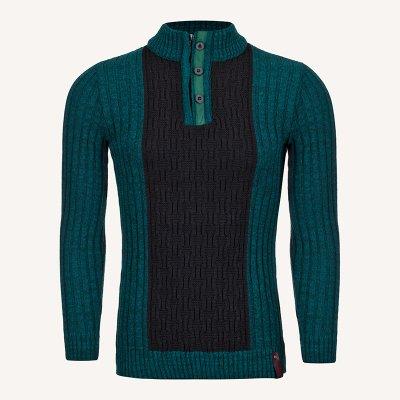 لباس زمستانی پلیور مردانه بافت یقه گرد 2184 سبز