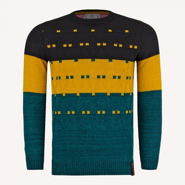 لباس زمستانی پلیور مردانه بافت یقه گرد 2189 سبز یشمی