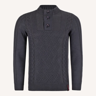 لباس زمستانی ژاکت بافت مردانه یقه گرد خاکستری 2179