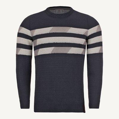 لباس زمستانی ژاکت بافت مردانه یقه گرد خاکستری 2183