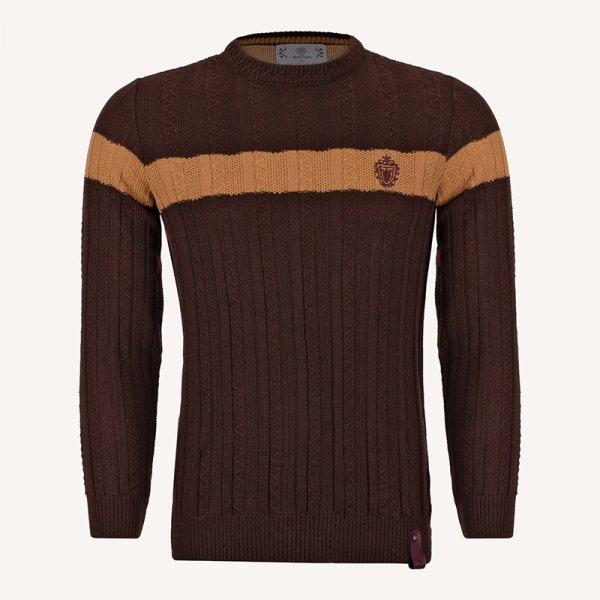 لباس زمستانی ژاکت بافت مردانه یقه گرد قهوه ای 2182