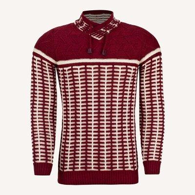 لباس زمستانی ژاکت مردانه بافت ارزان شیک 2196 زرشکی