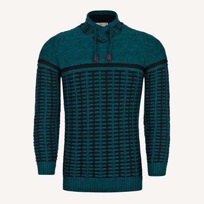 لباس زمستانی ژاکت مردانه بافت ارزان شیک 2196 سبز یشمی