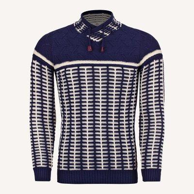 لباس زمستانی ژاکت مردانه بافت ارزان شیک 2196 سورمه ای