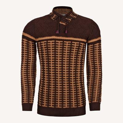 لباس زمستانی ژاکت مردانه بافت ارزان شیک 2196 قهوه ای
