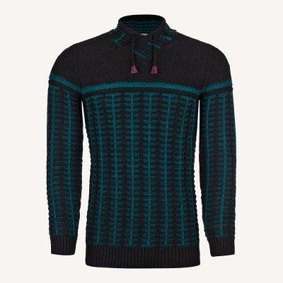 لباس زمستانی ژاکت مردانه بافت ارزان شیک 2196 مشکی