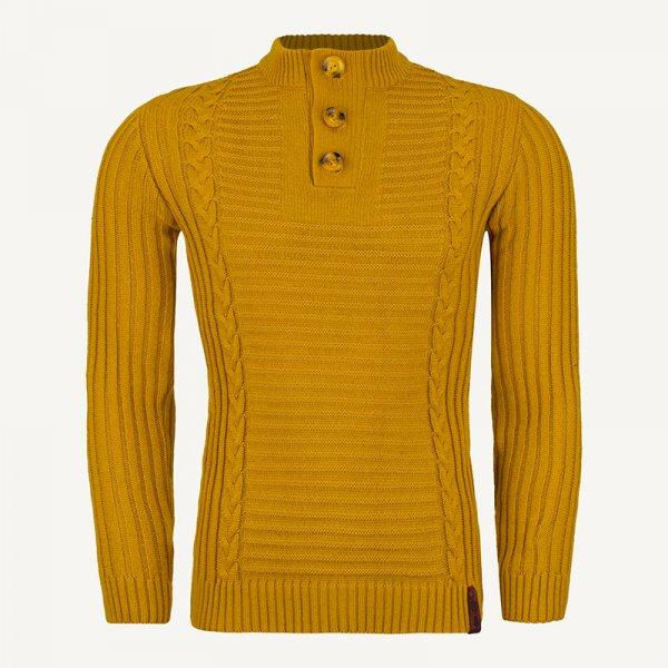 لباس زمستانی ژاکت مردانه بافت یقه گرد شیک 2197 خردلی
