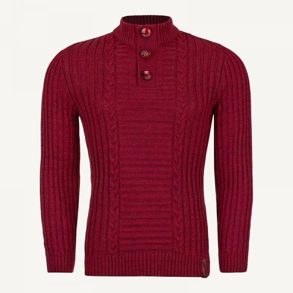 لباس زمستانی ژاکت مردانه بافت یقه گرد شیک 2197 زرشکی