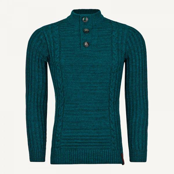 لباس زمستانی ژاکت مردانه بافت یقه گرد شیک 2197 سبز یشمی
