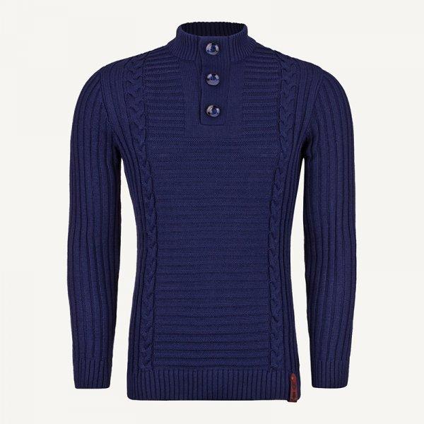 لباس زمستانی ژاکت مردانه بافت یقه گرد شیک 2197 سورمه ای
