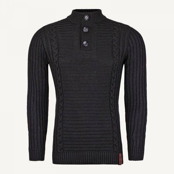 لباس زمستانی ژاکت مردانه بافت یقه گرد شیک 2197 مشکی