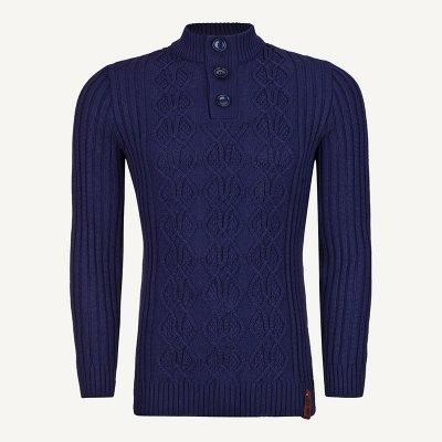 لباس زمستانی ژاکت مردانه بافت یقه گرد شیک 2199 سورمه ای