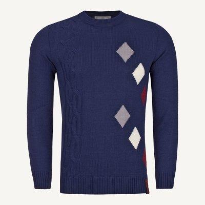 لباس زمستانی ژاکت مردانه بافت یقه گرد شیک 2201 سورمه ای