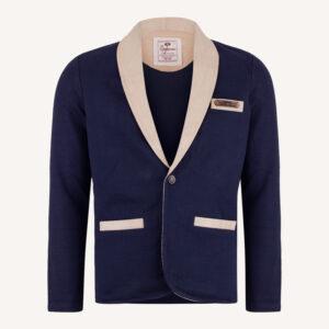 کت تک اسپرت مردانه بافت سورمه ای کرم